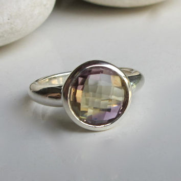 Ametrine Ring- Amethyst Ring- Citrine Ring- Bi Color Ring- Gemstone Ring- Birthstone Ring- Statement Ring- Topaz Ring- Gifts for Her