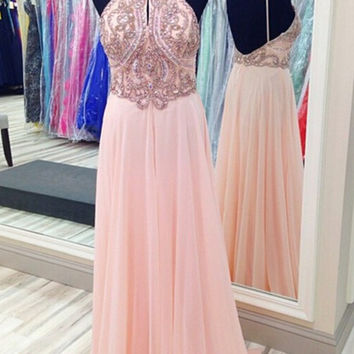 Homecoming Dress ,Beadings Pink Spaghetti Straps Long Prom Dress