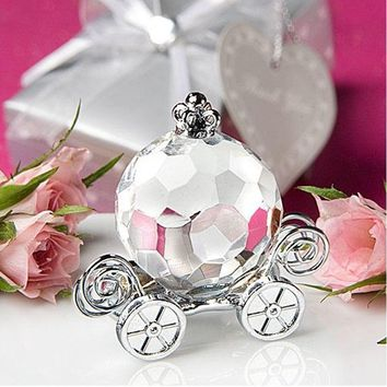 100pcs Transparent Crystal Collection Cinderella Pumpkin Carriage Wedding Favors And Gift Crystal Wedding Centerpiece  ZA1247