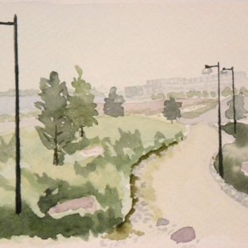 A view in southern Helsinki. Original watercolor painting.