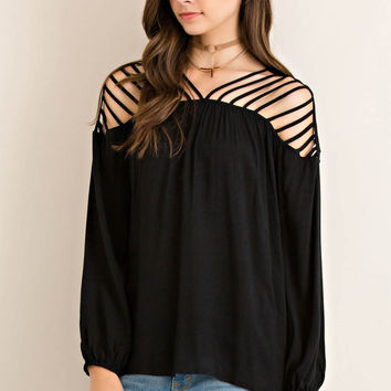 Dressy Top Featuring Cutout on Shoulder