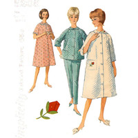 Classic Mid Century Misses' Robe, Pajama Top and Pants Simplicity 5205 Uncut Sewing Pattern Circa 1960 Size 14 Bust 34