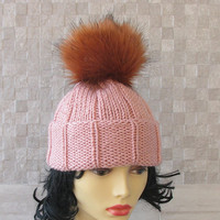Knitted chemo hat for women knit hats with pom pom Extra large pom pom beanie hat, womens pom pom beanie