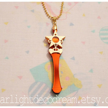 Sailor Venus Star Power Stick Sailor Moon Inspired Acrylic Necklace or Phone Strap for Mahou Kei & Magical Girl