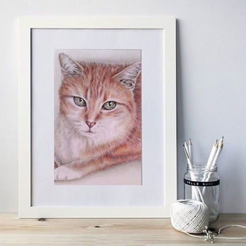 Gift for mom, Custom Pet Portrait in color of ONE PET, Pet Memorial, Hand Drawn Pencil Portrait from your Photo, Pet Drawing, Loss of a Pet