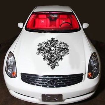 Car Hood Vinyl Decal Graphics Stickers Gothic Skull With Flowers AB469