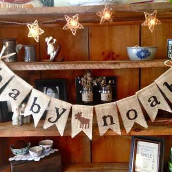 Burlap Baby Bunting, Baby Shower Decoration, Baby Boy Bunting, Rustic Shower, Pregnancy Photo Prop, Country Shower Decor, Moose Bunting