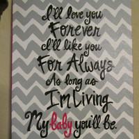Modern Chevron Print Hand Painted Canvas, with Quote