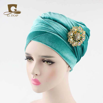 New women luxury hijab velvet Turban Head Wrap Extra Long  velour tube Headwrap Scarf Tie with jewelry  brooch