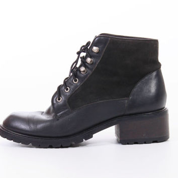 90s Black Suede and Leather Chunky Leather Lace Up Ankle Boots Vintage Goth Hipster Shoes Womens Size US8 UK6 EUR 38-39