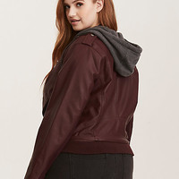 Faux Leather Moto Hoodie Jacket