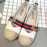 GUCCI New fashion flat women red and green stripe shoes casual shoes straw shoes White