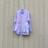 Med - Plus Size Artsy Romantic Upcycled Shirt OOAK