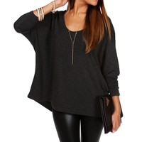 Charcoal V Neck Dolman Top