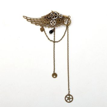 1pc Vintage Lolita Girls Gear Wings Tassels Hairpin Hair Clip Steampunk Goth Lady Headwear