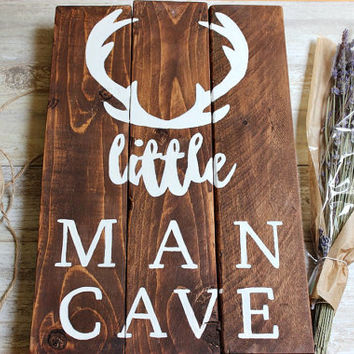 Woodland nursery decor boy, Little Man Cave Sign, Deer Antlers wall decor, Hunting Nursery Art Baby Boy nursery ideas, Baby Boy gift unique.