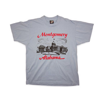 Large Light Blue Vintage T Shirt / 90s Montgomery Alabama by Screen Stars / Made in USA / 0007TS