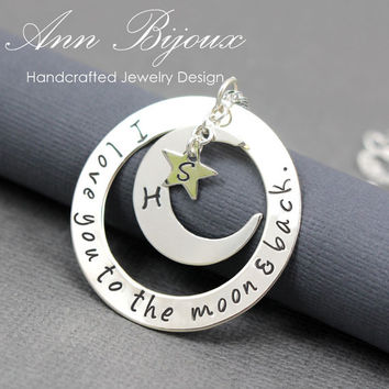 I Love You To The Moon and Back Necklace, Hand Stamped Moon and Back Necklace, Mommy Necklace, Grandma Necklace, Personalized Jewelry