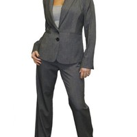 (6263) Lined Office Suit with Wide Leg Trouser Grey Birdseye Shimmer