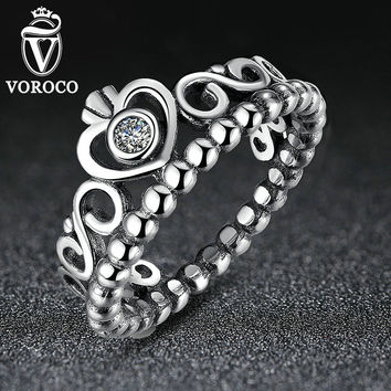 Authentic 925 Sterling Silver My Princess Queen Crown Ring Design Wedding Rings For Women Jewelry A7204
