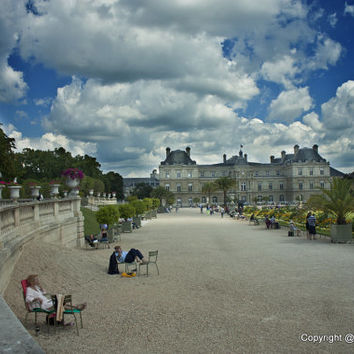 Paris Photos - Luxembourg Gardens Paris France,   Paris Prints, Fine Art Print Photography -gardens, clouds, hdr, sand