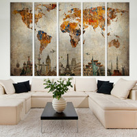 LARGE World Map Panels Poster Decor Canvas World Map Print / Multi Panel Wall Art World Map for Home & Office Wall Art / Interior Wall Decor