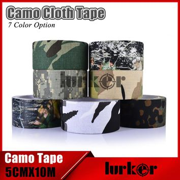 Tactical 5cmX10m Waterproof Camo Cloth Duct Tape Gun Hunting Camping Camouflage Stealth Tapes Wrap Outdoor Hunting Shooting Tool
