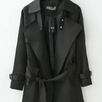 Black Shiny Light Trench Coat