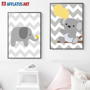 AFFLATUS Elephant Koala Yellow Balloon Wall Art Print Canvas Painting Nordic Poster Wall Pictures For Kids Room Baby Room Decor