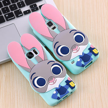 Cute 3D Zootopia Rabbit Judy Cartoon Soft Silicone Phone Cases Cover For Samsung Galaxy S3 S4 S5 S6 S6Edge S7 S7Edge Note 3 4 5