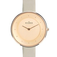 Skagen Klassik Rose Gold Gray Leather Strap Watch - Rosegold