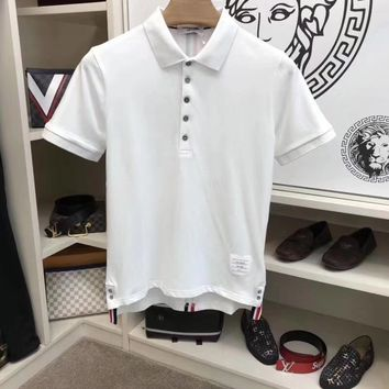 THOM BROWNE 2018 official website of the latest men's short sleeve lapel T-shirt, super type of a single product, very elements of style 011