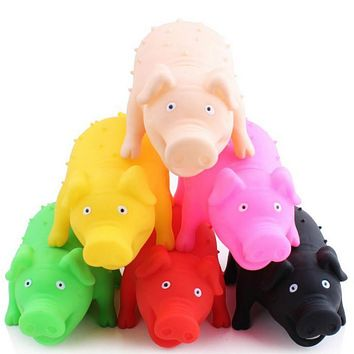 Screaming Vent Pig Toys Squeaker Chew Plaything Decrease Stress Prank Toy Novelty Pet Dog Toy Color Random