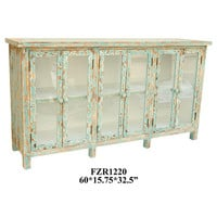 Crestview Dawson Creek Weathered Oak and Cyan 6 Door Sideboard - CVFZR1220