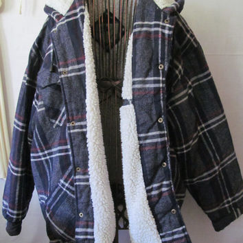 Blue Plaid Jacket Insulated Parka Sherpa Lined Plaid Jacket SZ XL mens  Plaid Hoodie Plaid jacket Fall Jacket