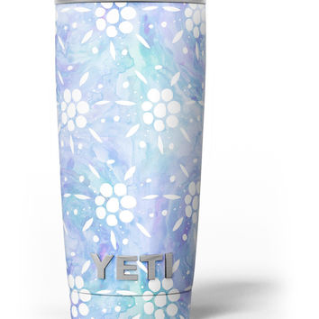 Blue Watercolor and White Flower Print Pattern Yeti Rambler Skin Kit