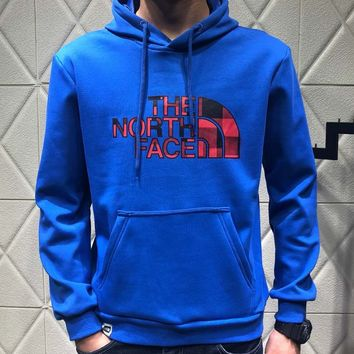 The North Face autumn and winter couple models headband chest classic logo hooded sweater blue