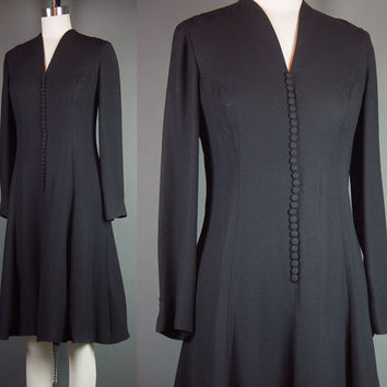60s 70s Black Dress Vintage 1960s Fit Flare Party Cocktail Crepe Holiday Peck & Peck B 36 W 32 M