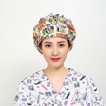 2018 New Women Long Hair Swan Print Medical Uniforms Surgical Caps Doctor And Nurse Surgical Bouffant Cap New Chief Cap