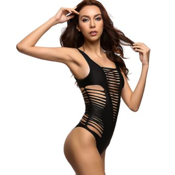 Black Sexy Cut Out One Piece Swimsuit