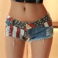 [BIG SALE] American US Flag Mini Jeans Shorts