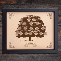Lik73 Leather Engraved family tree personalized gift