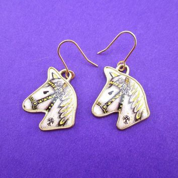 Hand Drawn White Horse Shaped Illustrated Dangle Earrings | Animal Jewelry
