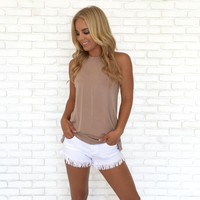 Trapeze Open Back Jersey Top In Mocha