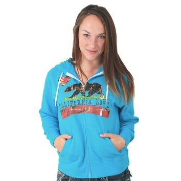 California Love Distressed Zip-Up Hoodie