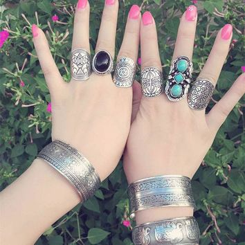 LMF9GW Hot   4PCS Vintage Turkish Beach Punk Moon Arrow Ring Set Ethnic Carved Antique Silver Boho Midi Finger Ring Knuckle Charm