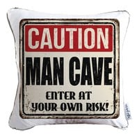 Caution: Man Cave Decorative Throw Velvet Pillow w/ Silver & White Reversible Sequins - COVER ONLY (Inserts Sold Separately)