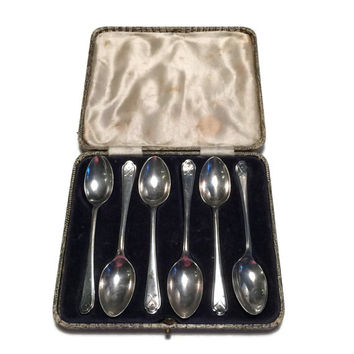 Walker & Hall Silver, Silver Teaspoons, Collectible Silver Teaspoons, Cased Silver Spoons, Sheffield Silver, Golf Gift, Golf Motif Gift