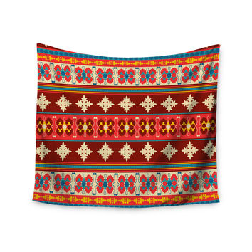 "Nandita Singh ""Borders Red"" Maroon Wall Tapestry"