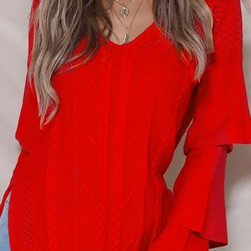 It's Complicated Long Tiered Sleeve V Neck Cable Side Pattern Slit Tunic Pullover Sweater - 6 Colors Available